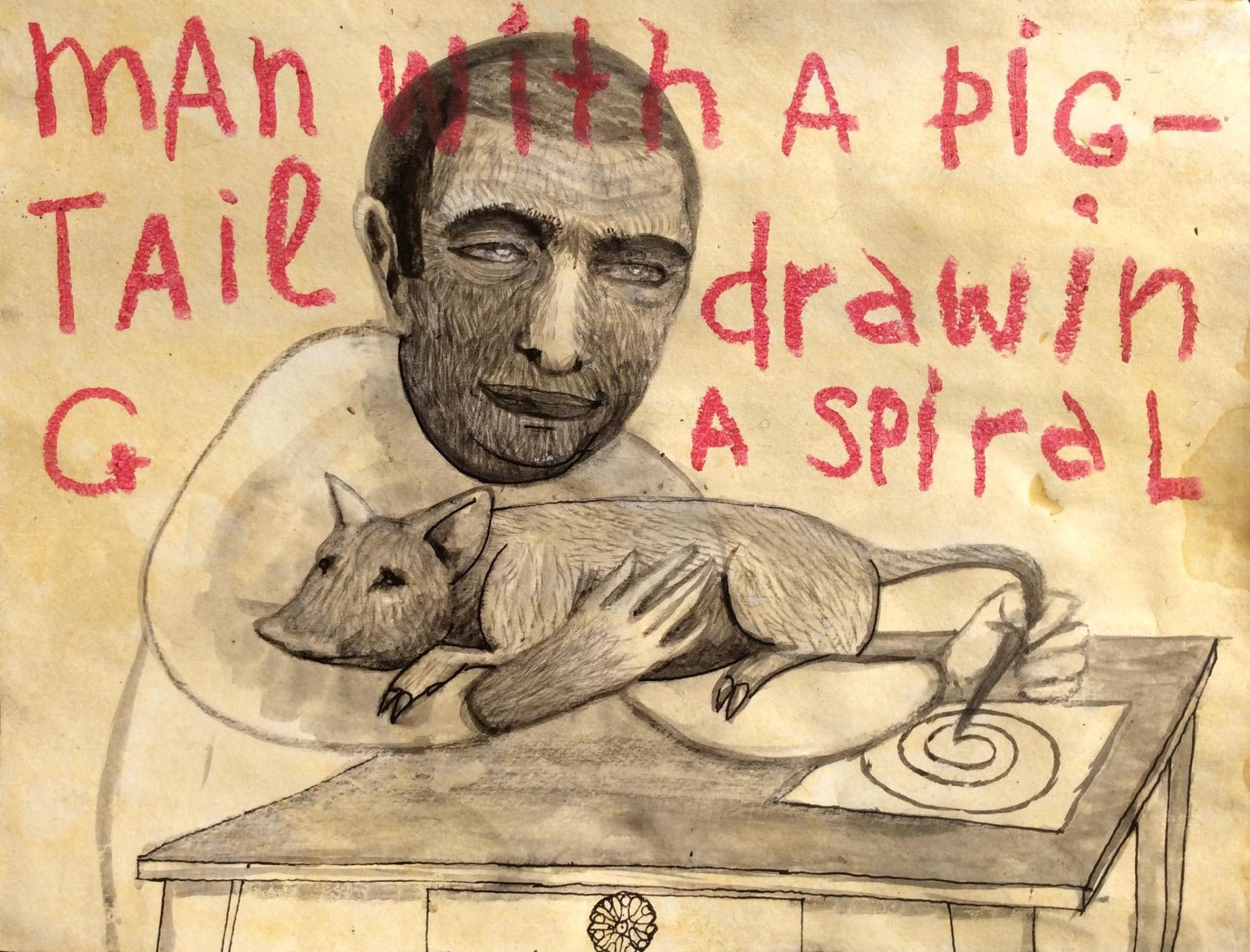man with a pig tail drawing a spiral